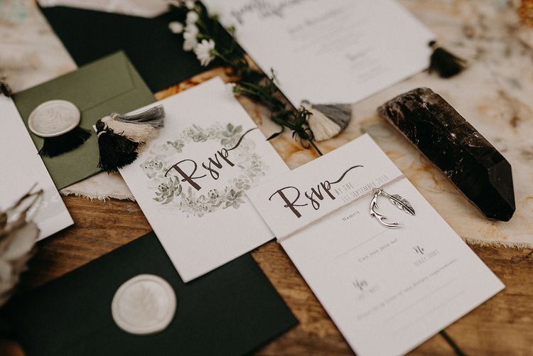 Wonderland Invites Wedding Stationery Suite | Nude Bohemian Wedding Inspiration by Wonderland Invites & Rock The Day Styling | Kelsie Low Photography