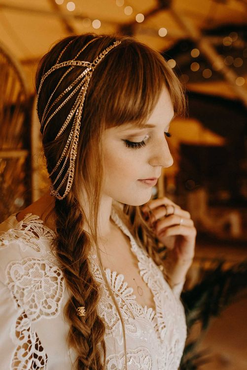 Boho Bride with Fishtail Braids & Gold Hair Accessory | Lace Rock The Frock Bridal Gown | Nude Bohemian Wedding Inspiration by Wonderland Invites & Rock The Day Styling | Kelsie Low Photography