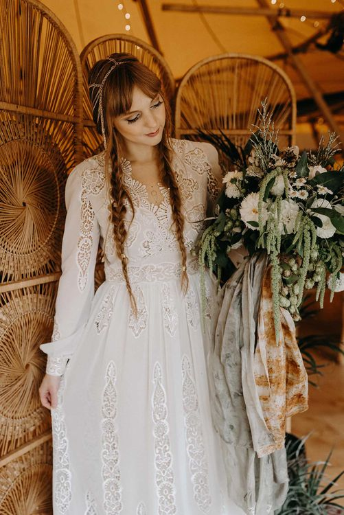 Boho Bride in Lace Rock The Frock Bridal Gown | Nude Bohemian Wedding Inspiration by Wonderland Invites & Rock The Day Styling | Kelsie Low Photography