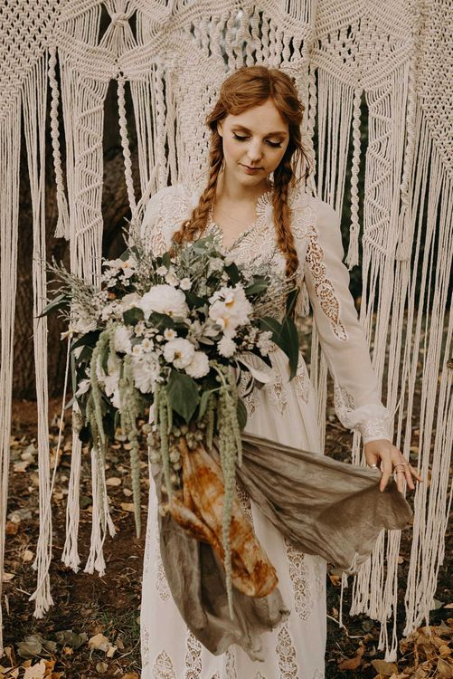 Boho Bride in Lace Rock The Frock Bridal Gown | Macrame Wall Hanging & Dried Flowers | Nude Bohemian Wedding Inspiration by Wonderland Invites & Rock The Day Styling | Kelsie Low Photography
