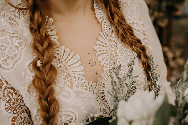 Lace Wedding Dress | Bridal Braid | Macrame Wall Hanging & Dried Flowers | Nude Bohemian Wedding Inspiration by Wonderland Invites & Rock The Day Styling | Kelsie Low Photography