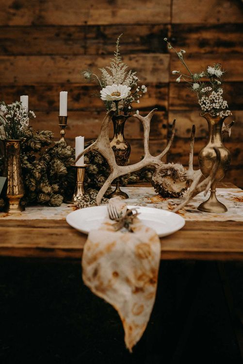 Drapes, Dried Flowers & Macrame Decor | Wooden Table with Candle Sticks & Greenery Garland | Nude Bohemian Wedding Inspiration by Wonderland Invites & Rock The Day Styling | Kelsie Low Photography