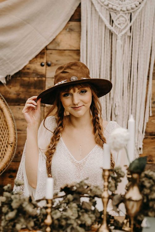 Boho Bride in Lace Dress & Hat | Drapes, Dried Flowers & Macrame Decor | Wooden Table with Candle Sticks & Greenery Garland | Nude Bohemian Wedding Inspiration by Wonderland Invites & Rock The Day Styling | Kelsie Low Photography