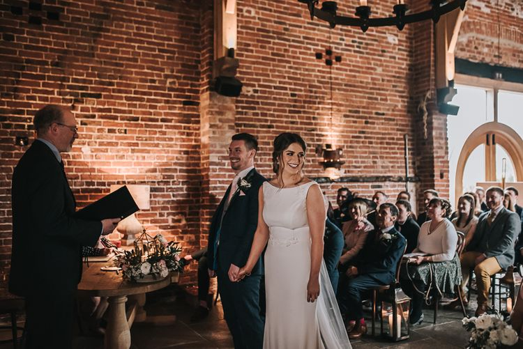 The Ceremony | Blush Pink and Copper | RMW The List Members Hazel Gap Barn, Nottinghamshire | Mikaella Bridal Gown | Pear and Bear Photography