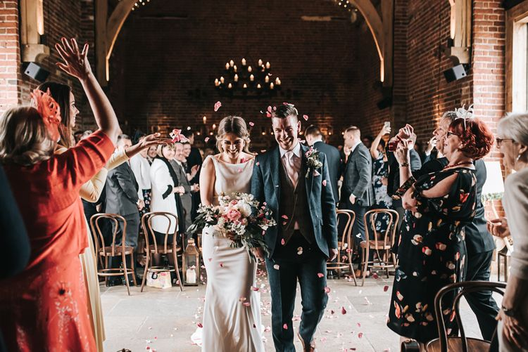 Indoor Confetti | Blush Pink and Copper | RMW The List Members Hazel Gap Barn, Nottinghamshire | Mikaella Bridal Gown | Pear and Bear Photography