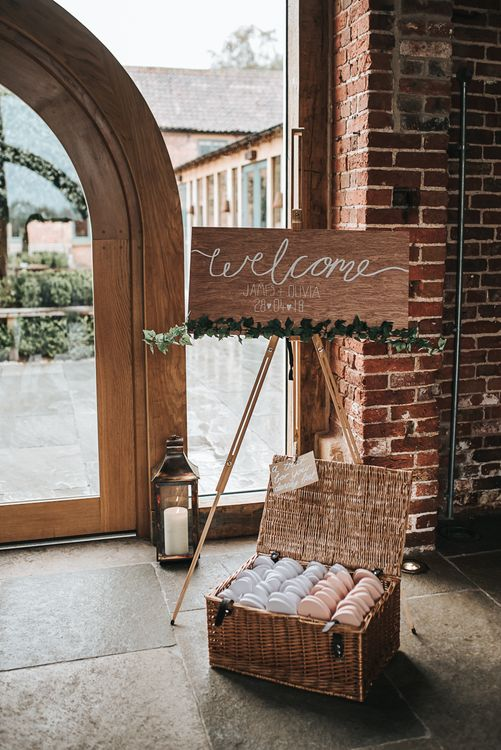 Signage | Blush Pink and Copper | RMW The List Members Hazel Gap Barn, Nottinghamshire | Mikaella Bridal Gown | Pear and Bear Photography