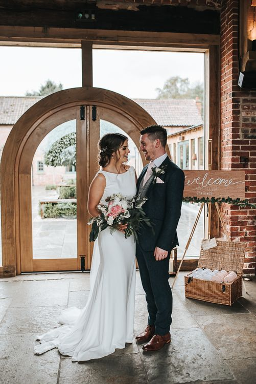 Just Married | Blush Pink and Copper | RMW The List Members Hazel Gap Barn, Nottinghamshire | Mikaella Bridal Gown | Pear and Bear Photography