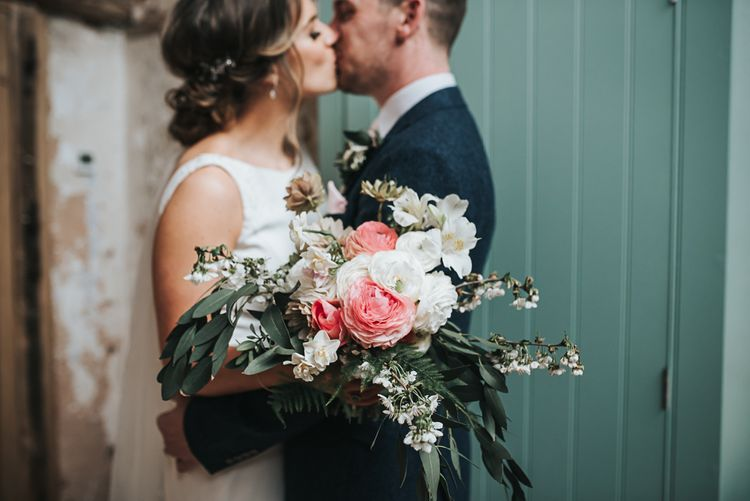 Garden grown flowers | Blush Pink and Copper | RMW The List Members Hazel Gap Barn, Nottinghamshire | Mikaella Bridal Gown | Pear and Bear Photography