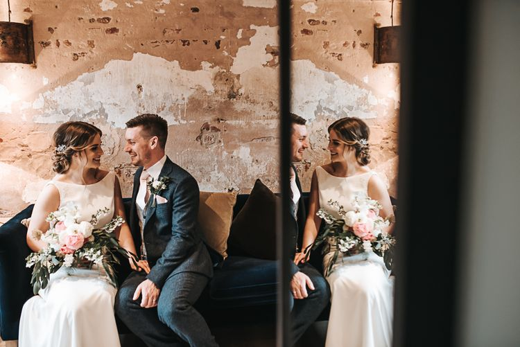 Couple shot | Blush Pink and Copper | RMW The List Members Hazel Gap Barn, Nottinghamshire | Mikaella Bridal Gown | Pear and Bear Photography
