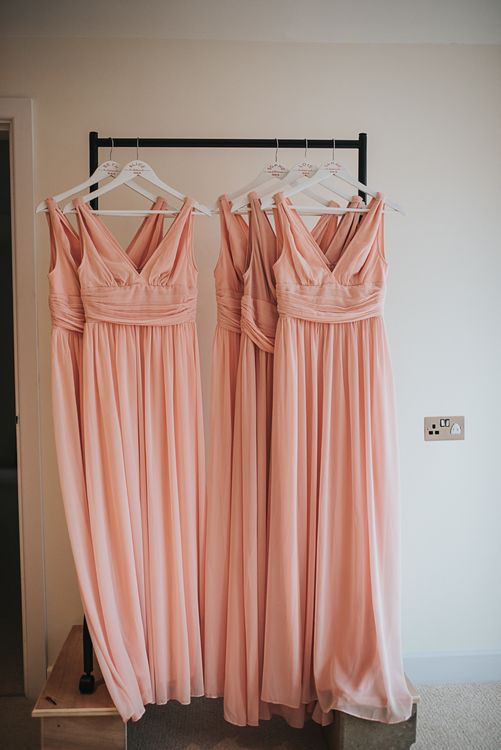 Bridesmaid Dresses | Blush Pink and Copper | RMW The List Members Hazel Gap Barn, Nottinghamshire | Mikaella Bridal Gown | Pear and Bear Photography