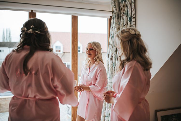 Bridesmaids Morning Preparations | Blush Pink and Copper | RMW The List Members Hazel Gap Barn, Nottinghamshire | Mikaella Bridal Gown | Pear and Bear Photography