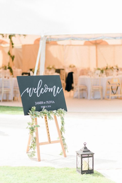 Chalkboard Wedding Welcome Sign with Storm Lantern