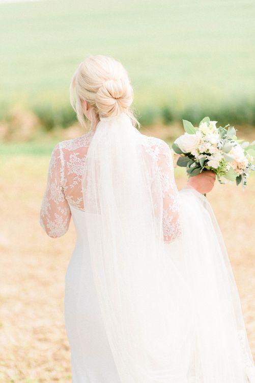 Bridal Bun Up Do with Wedding Veil