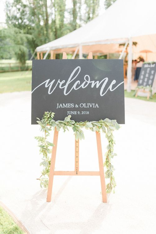 Chalkboard Wedding Welcome Sign with Calligraphy Font