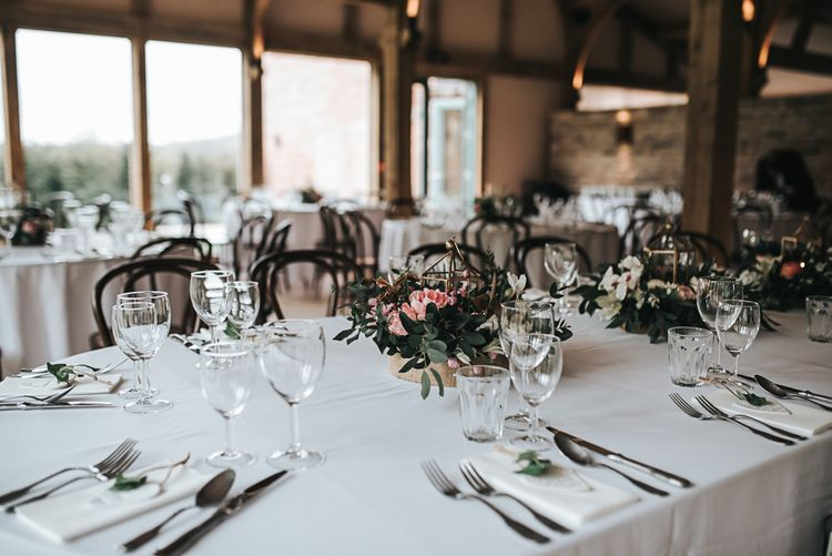 Table detail and decor | Blush Pink and Copper | RMW The List Members Hazel Gap Barn, Nottinghamshire | Mikaella Bridal Gown | Pear and Bear Photography