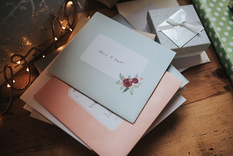 Cards | Blush Pink and Copper | RMW The List Members Hazel Gap Barn, Nottinghamshire | Mikaella Bridal Gown | Pear and Bear Photography
