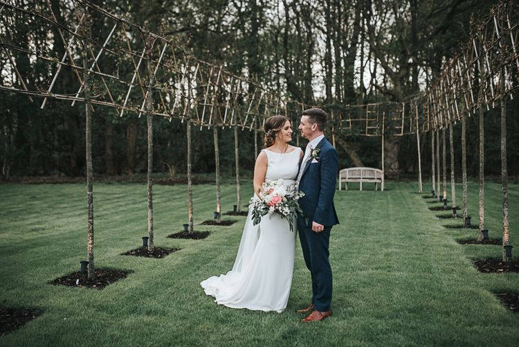 Venue Grounds | Blush Pink and Copper | RMW The List Members Hazel Gap Barn, Nottinghamshire | Mikaella Bridal Gown | Pear and Bear Photography