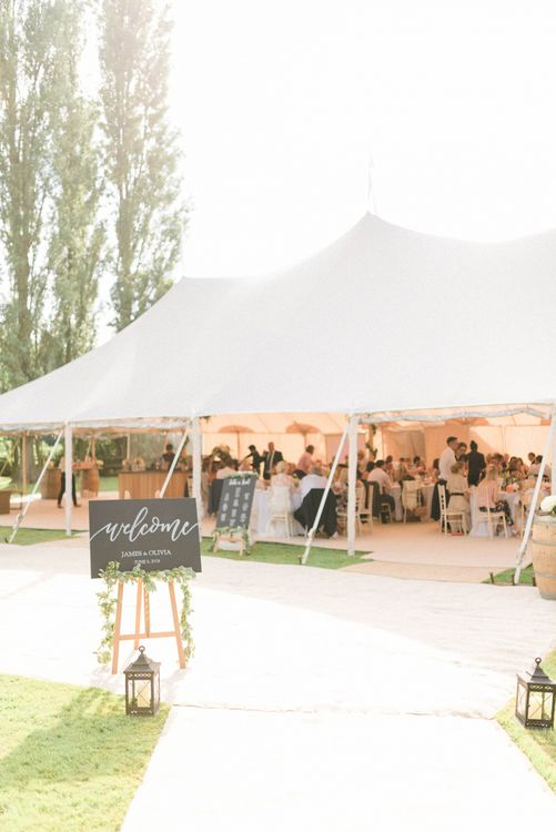 Papakata Sperry Tent Reception with Wedding Welcome Sign Outside