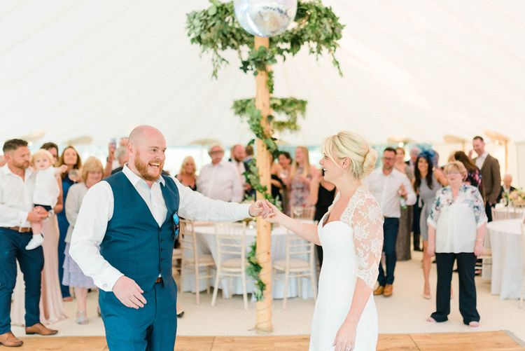 First Dance with Bride in Suzanne Neville Wedding Dress and Lace Bolero and Groom in Navy Hugo Boss Waistcoat and Trousers