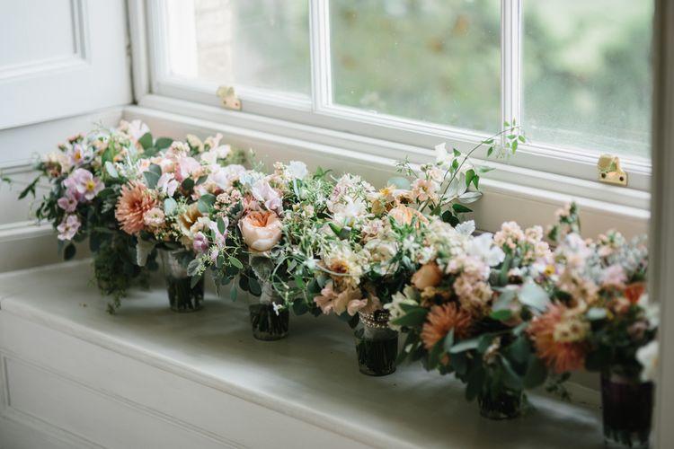 Romantic Peach and Green Bridesmaid Bouquets