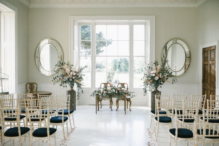 Ceremony Room at Sutton Hall with Altar Flowers