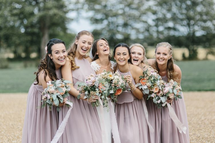 Bridal Party Portrait with Bridesmaids in TH&TH Dresses