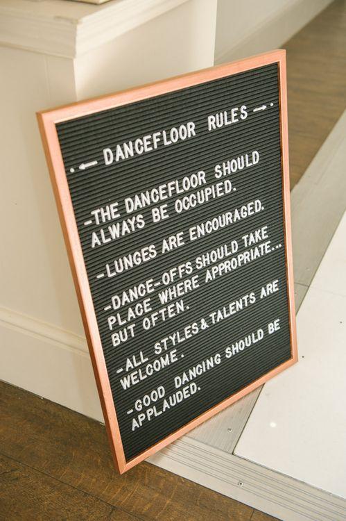 Peg Board Dance Floor Sign
