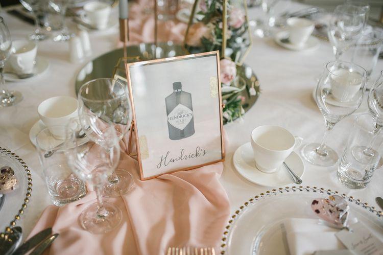 Gin Bottle Table Name Illustration
