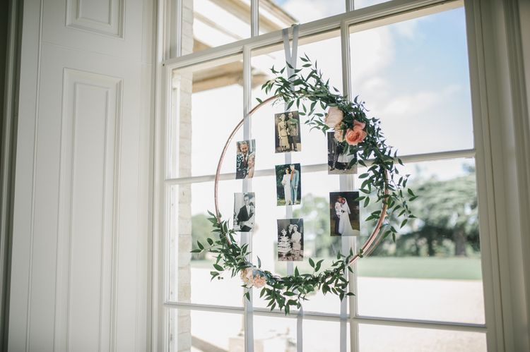 DIY Hoop Polaroid Pictures Frame Decorated in Foliage