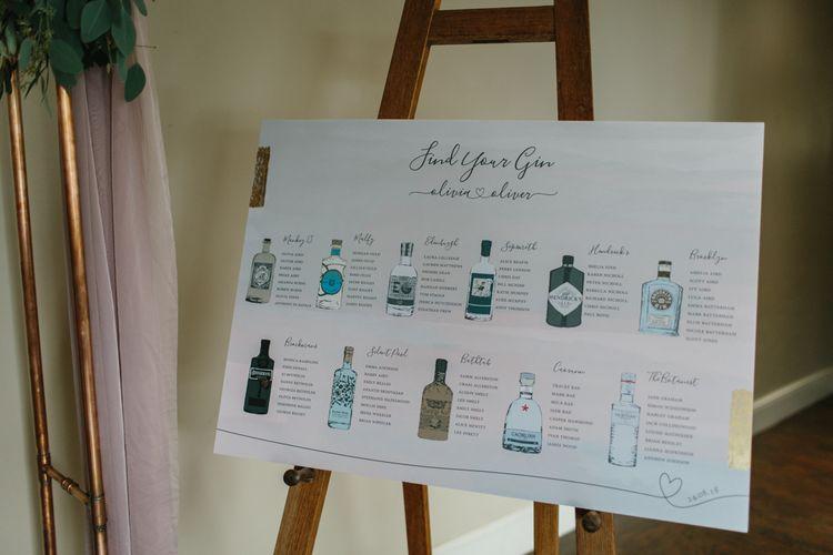 Gin Bottle Table Plan Illustration