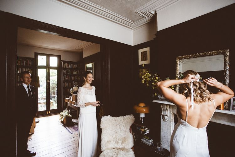 Bride in Laure de Sagazan Gown   Autumn City Wedding at Clissold House,  West Reservoir Centre   A Thing Like That Photography