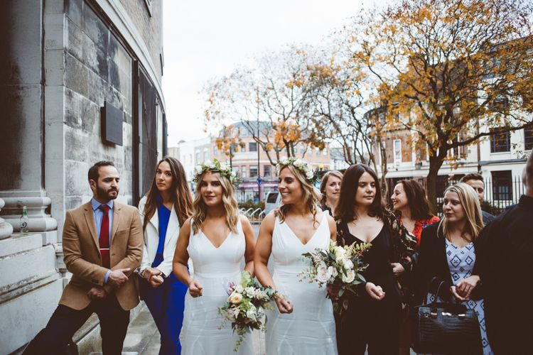 Bridesmaids in White Dresses & Flower Crowns   Autumn City Wedding at Clissold House,  West Reservoir Centre   A Thing Like That Photography