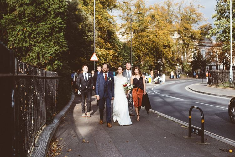 Wedding Guests   Bride in Laure de Sagazan Gown   Groom in Reiss Suit   Autumn City Wedding at Clissold House,  West Reservoir Centre   A Thing Like That Photography