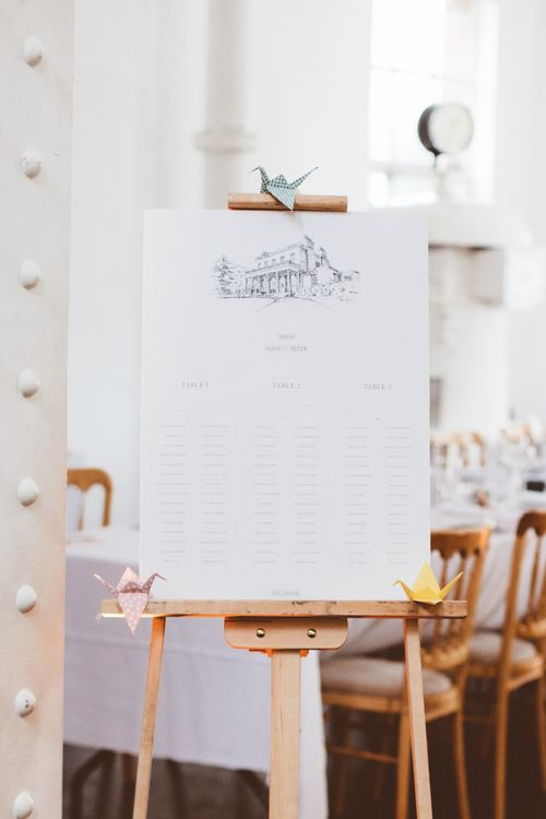 Table Plan with Origami Paper Crane Decor   Autumn City Wedding at Clissold House,  West Reservoir Centre   A Thing Like That Photography
