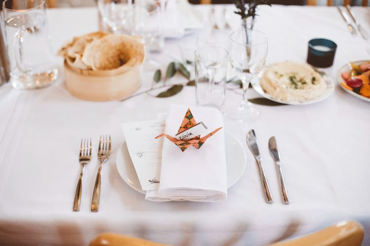 Paper Crane Origami Wedding Decor   Autumn City Wedding at Clissold House,  West Reservoir Centre   A Thing Like That Photography