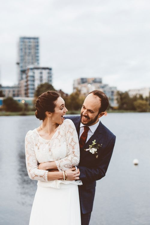 Bride in Laure de Sagazan Gown   Groom in Reiss Suit   Autumn City Wedding at Clissold House,  West Reservoir Centre   A Thing Like That Photography