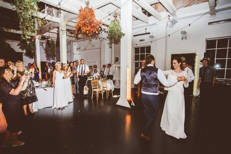 First Dance   Bride in Laure de Sagazan Gown   Groom in Reiss Suit   Autumn City Wedding at Clissold House,  West Reservoir Centre   A Thing Like That Photography
