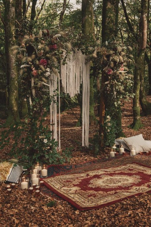 Woodland Altar with Macrame Backdrop, Autumnal Flowers and Moroccan Rug
