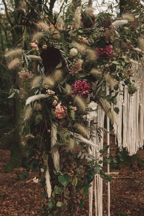 Autumnal Wedding Flowers with Foliage and Dried Grasses