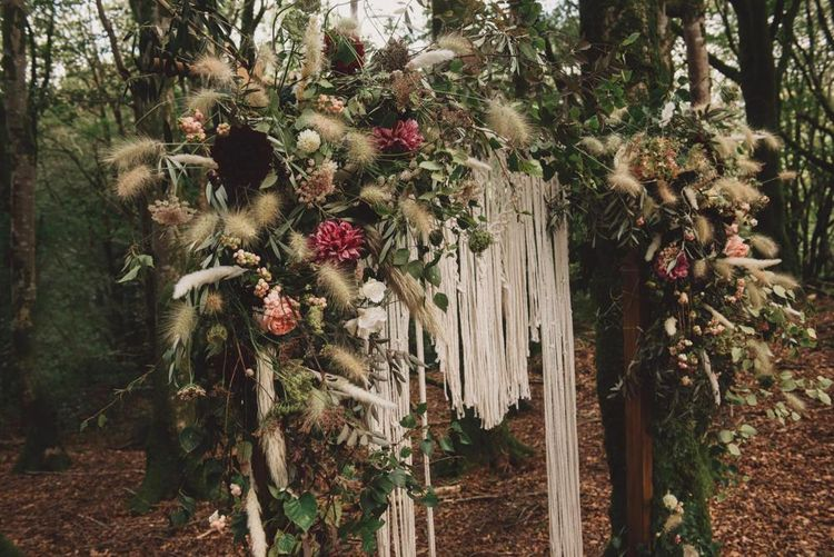 Floral Arch with Hanging Macrame