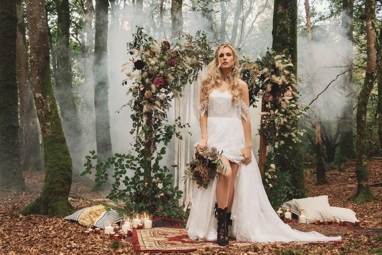 Boho Bride in  Cold Shoulder Wedding Dress with Fringe Detail and Black Lace Wedding Boots