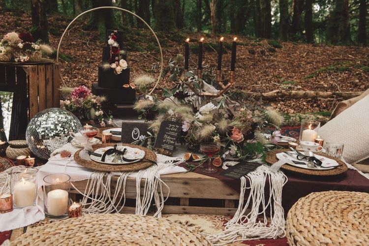 Woodland Wedding Breakfast Table with Wicker Pouffes