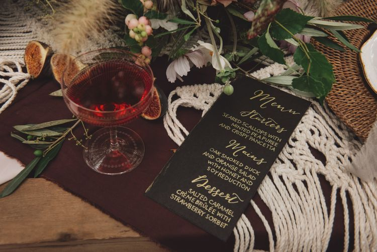 Handmade Menu Card with Gold Calligraphy Font