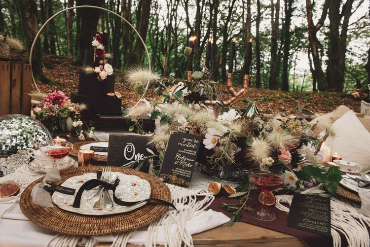 Wedding Breakfast Table Decor with Wicker, Dried Grass Flowers and Black Stationery