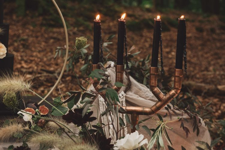 Copper Candelabra with Black Tapper Candles