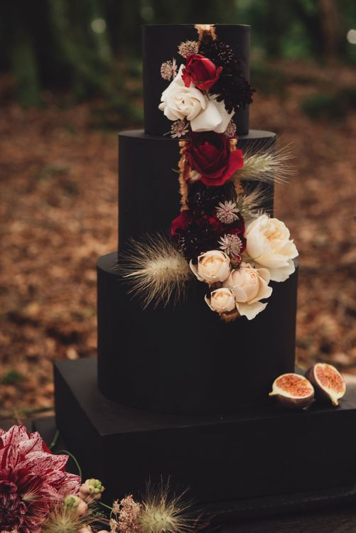 Black Square Wedding Cake with Cascading Wedding Flowers