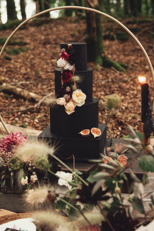 Black Four Tier Wedding Cake with  Square Layer and Flower Decor