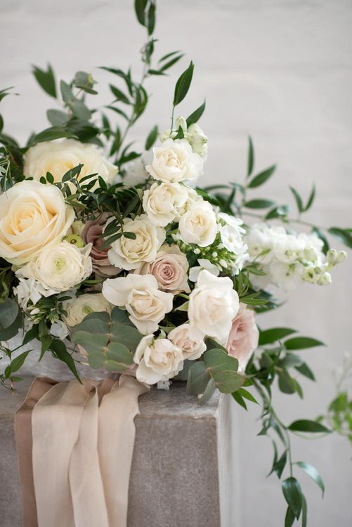 Romantic Roses Floral Arrangement by Blue Sky Flowers | Super Luxe White, Grey & Gold Elegant Wedding Inspiration at Orangery, Holland Park, Kensington, London | Planned & Style day The Events Designers | Eva Tarnok Photography