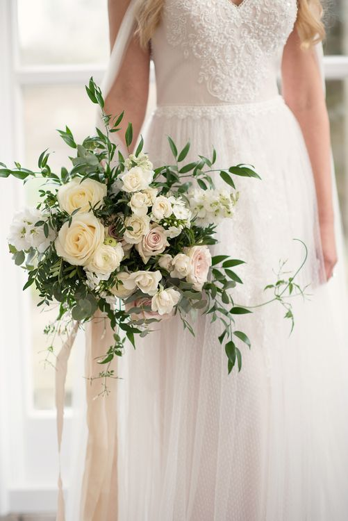 Romantic Rose Bouquet by Blue Sky Flowers | Bride in Nissa Now  from Chic Nostalgia | Super Luxe White, Grey & Gold Elegant Wedding Inspiration at Orangery, Holland Park, Kensington, London | Planned & Style day The Events Designers | Eva Tarnok Photography