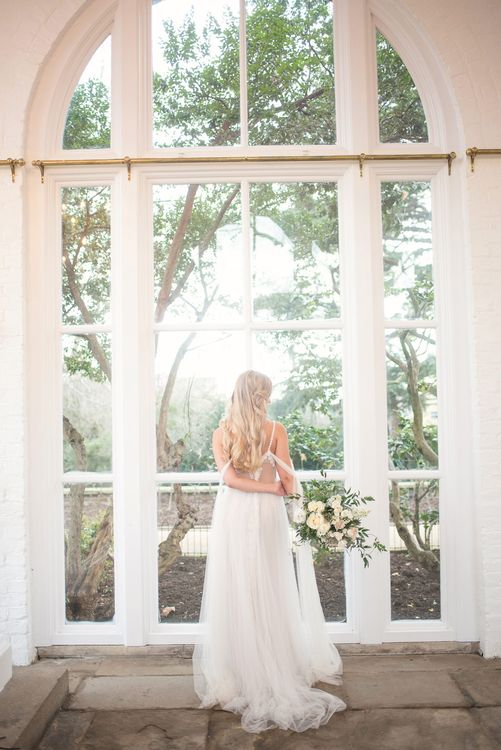 Bride in Nissa Now  from Chic Nostalgia | Super Luxe White, Grey & Gold Elegant Wedding Inspiration at Orangery, Holland Park, Kensington, London | Planned & Style day The Events Designers | Eva Tarnok Photography